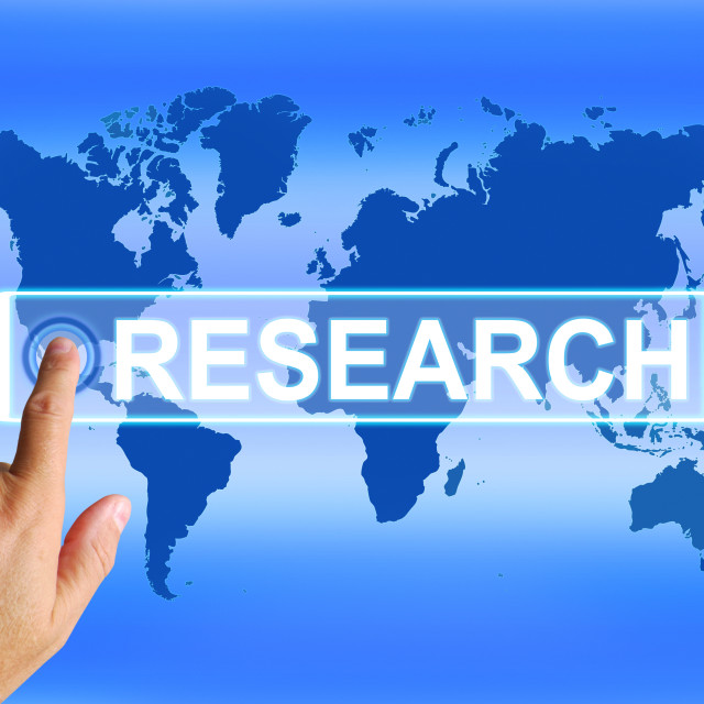 """""""Research Map Represents Internet Researcher or Researched Analyzing"""" stock image"""
