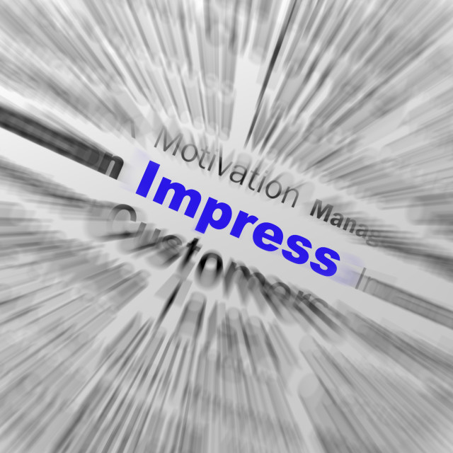 """""""Impress Sphere Definition Displays Satisfactory Impression Or Excellence"""" stock image"""