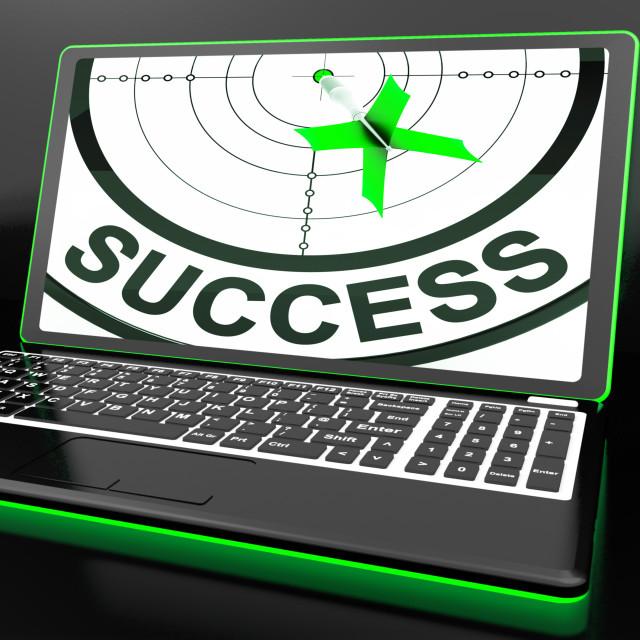 """Success On Laptop Showing Successful Progress"" stock image"