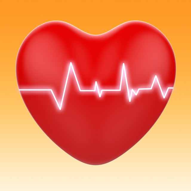 """Electro On Heart Means Cardiology Or Heart Health"" stock image"