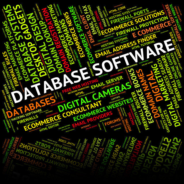 """""""Database Software Means Softwares Freeware And Application"""" stock image"""
