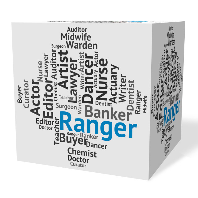 """Ranger Job Represents Text Rover And Trooper"" stock image"