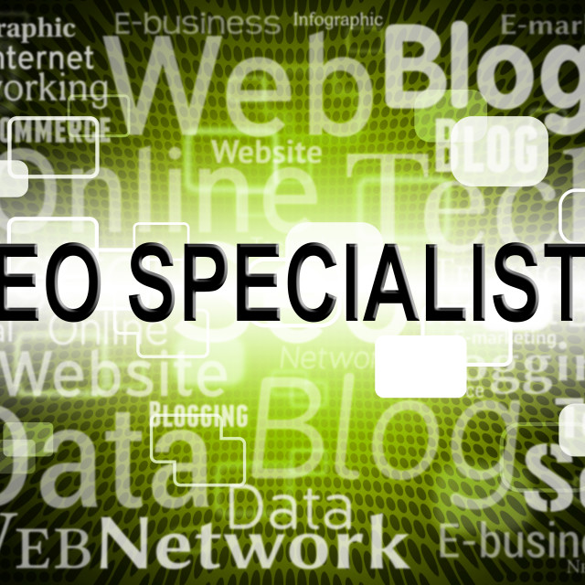 """Seo Specialist Represents Search Engine And Expertise"" stock image"