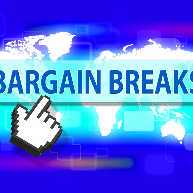 """Bargain Breaks Indicates Short Vacation And Sales"" stock image"