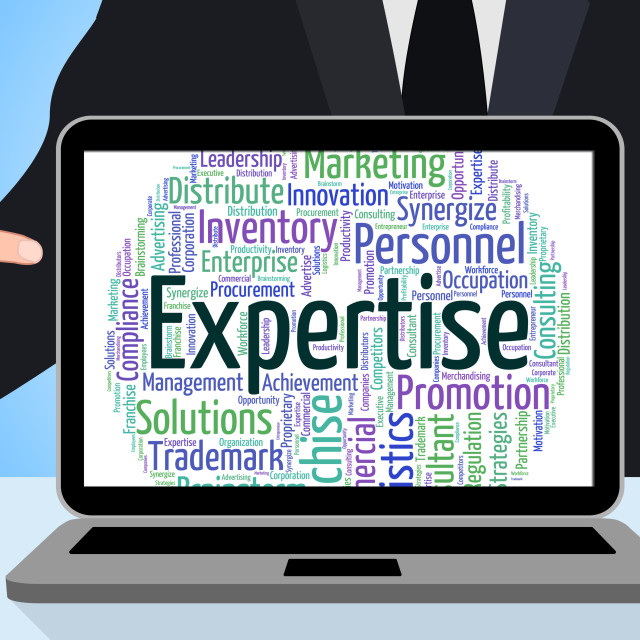 """Expertise Word Shows Experts Education And Trained"" stock image"
