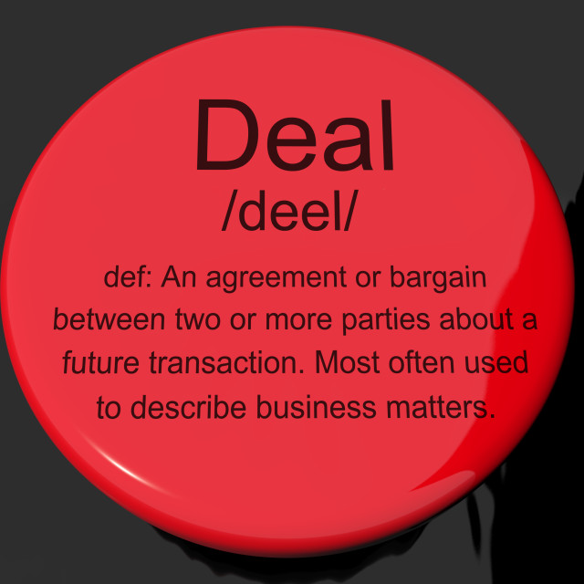 """""""Deal Definition Button Showing Agreement Bargain Or Partnership"""" stock image"""
