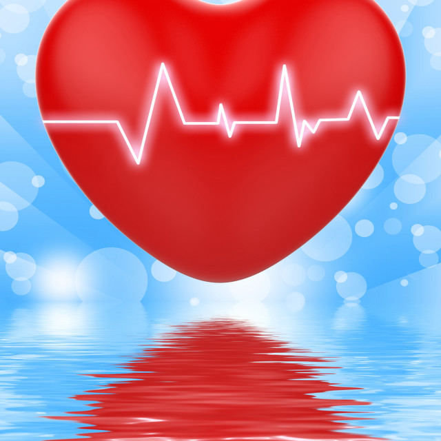 """Electro On Heart Displays Passionate Relationship Or Heartbeats"" stock image"