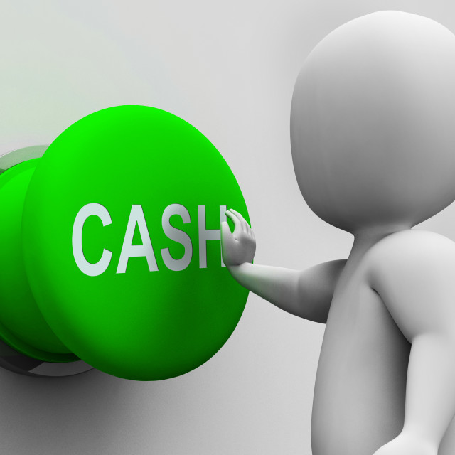 """""""Cash Button Shows Money Earning And Spending"""" stock image"""