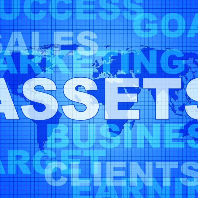 """""""Assets Words Shows Wealth Valuables And Goods"""" stock image"""
