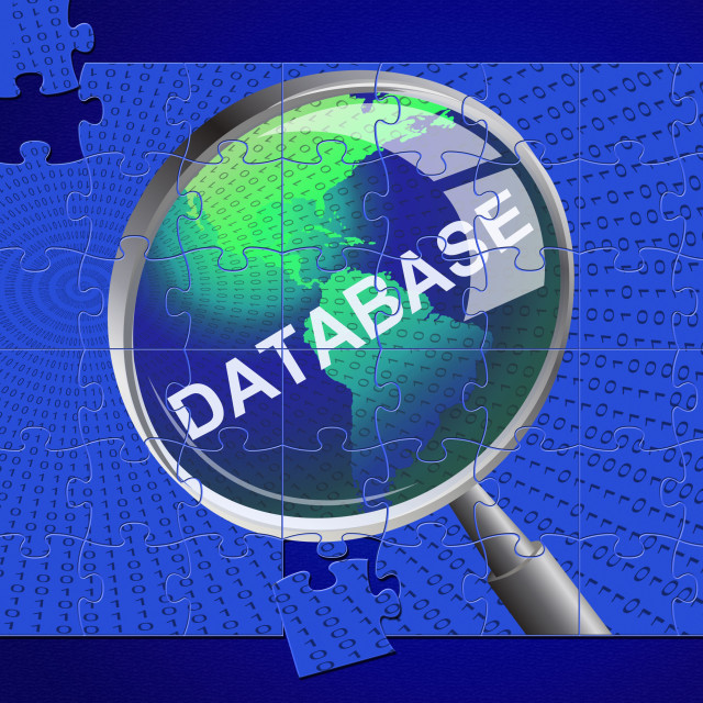 """""""Database Magnifier Represents Search Magnify And Databases"""" stock image"""