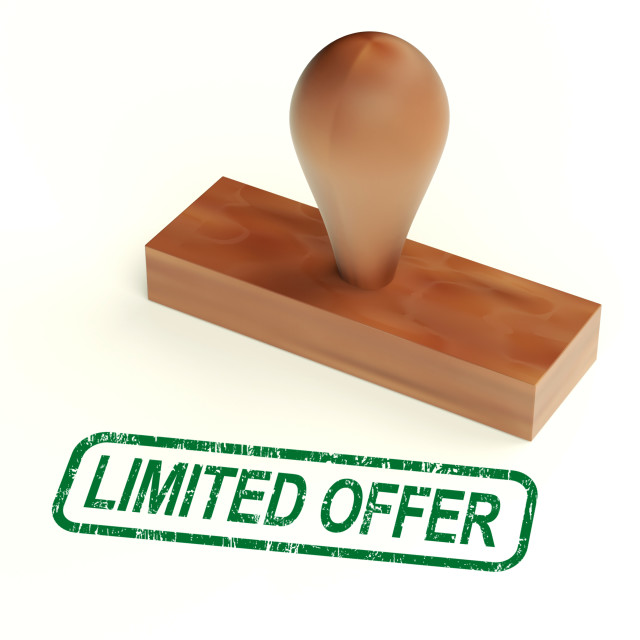 """Limited Offer Rubber Stamp Shows Product Promotions"" stock image"