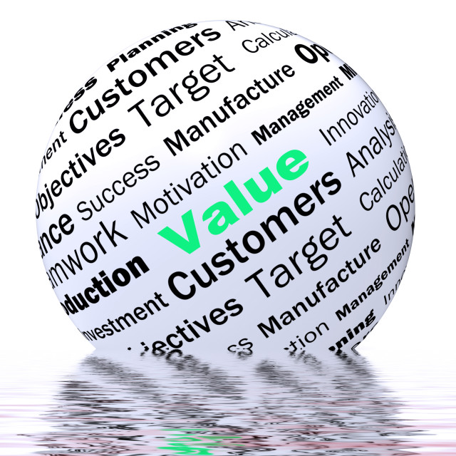 """Value Sphere Definition Displays Importance And High Value"" stock image"
