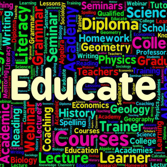 """Educate Word Represents Words Studying And Educating"" stock image"