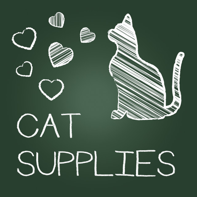 """Cat Supplies Indicates Pet Feline And Goods"" stock image"