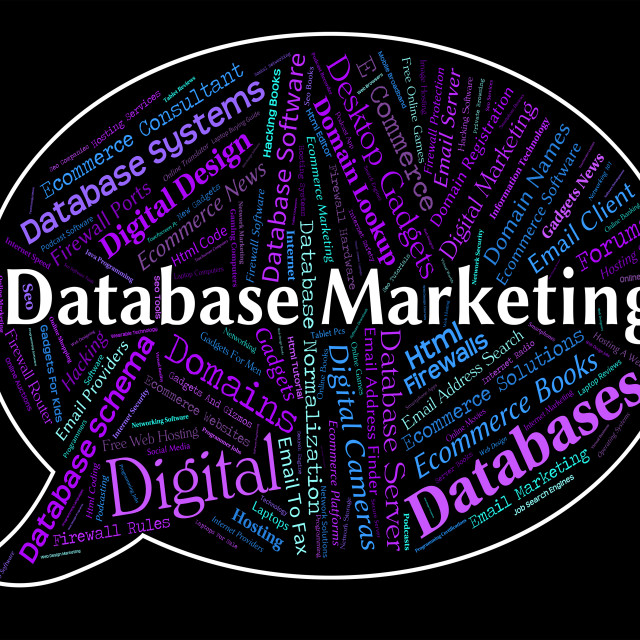 """""""Database Marketing Represents Sales Words And Computing"""" stock image"""