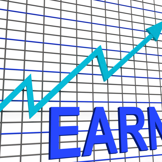 """Earn Graph Chart Shows Increase Earnings Growing"" stock image"