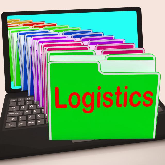 """Logistics Folders Laptop Mean Planning Organization And Coordination"" stock image"