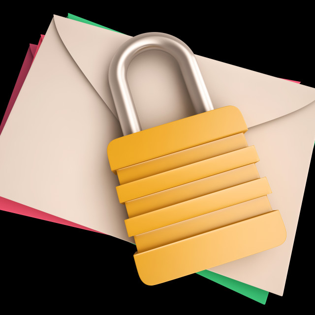 """""""Lock Over Letters Shows Correspondence Safety"""" stock image"""
