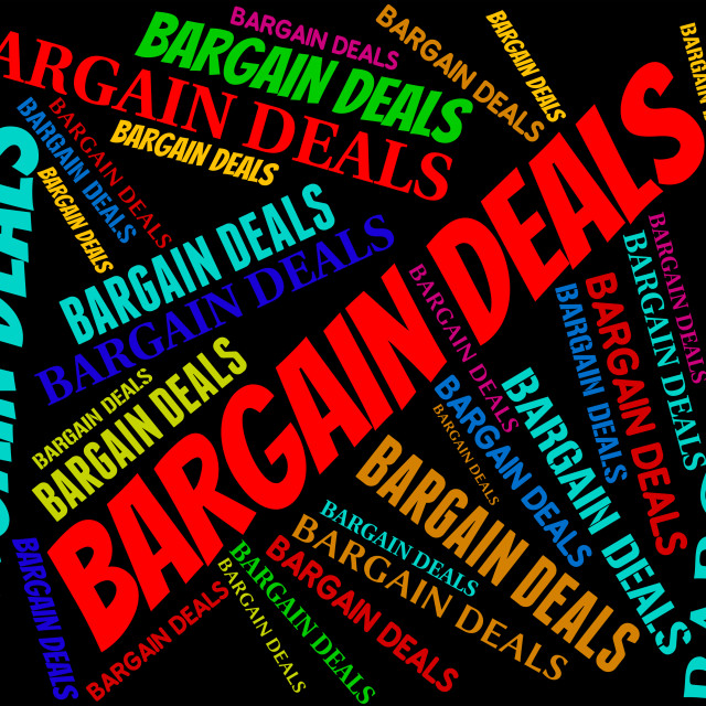 """Bargain Deals Indicates Words Contract And Transactions"" stock image"