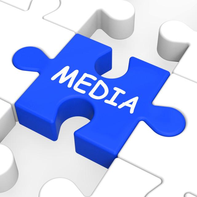 """Media Jigsaw Shows Multimedia Newspapers Radio Or Tv"" stock image"