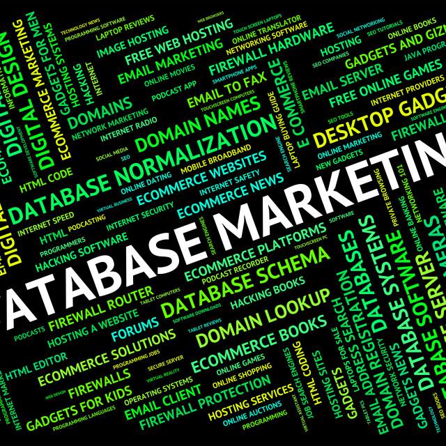 """""""Database Marketing Indicates Databases Text And Promotion"""" stock image"""
