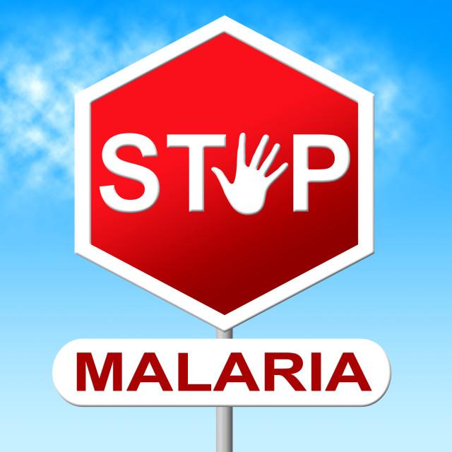 """Stop Malaria Indicates Warning Sign And Caution"" stock image"