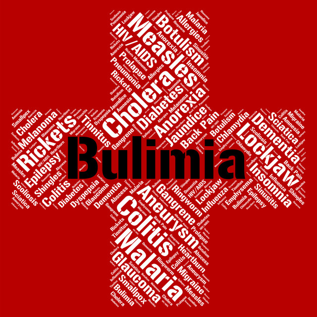 """""""Bulimia Word Means Binge Vomit Syndrome And Affliction"""" stock image"""