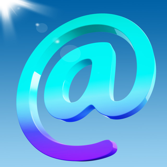 """""""At Sign Shows Email Correspondence on Web"""" stock image"""