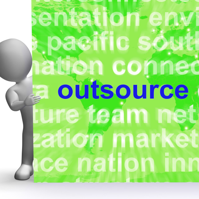 """Outsource Word Cloud Sign Shows Subcontract And Freelance"" stock image"