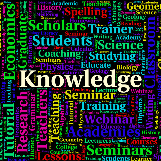"""""""Knowledge Word Indicates Wise Expertise And Words"""" stock image"""