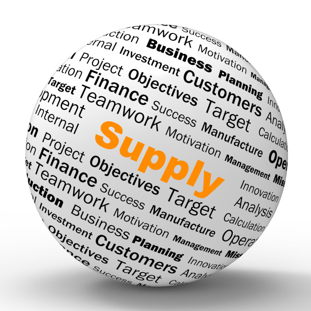 """""""Supply Sphere Definition Shows Goods Provision Or Product Demand"""" stock image"""