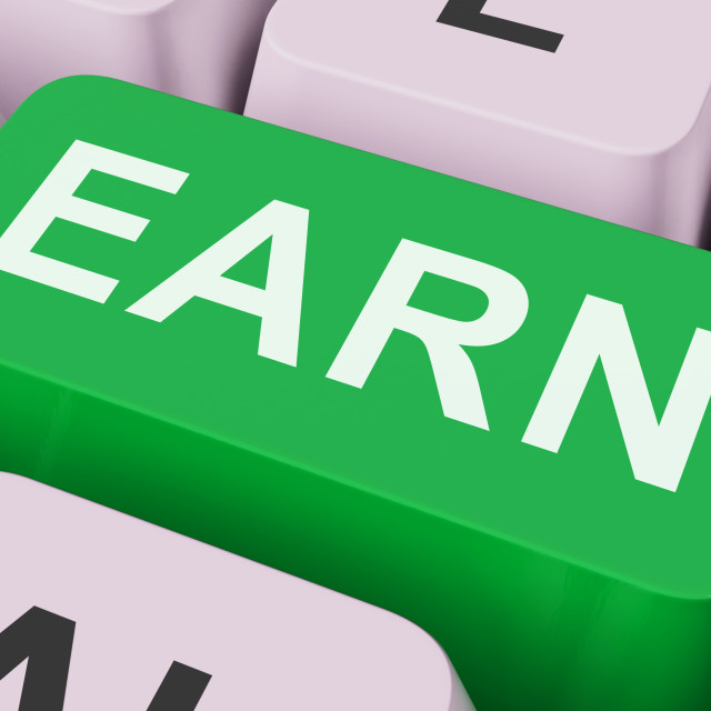 """""""Earn Key Shows Earning Or Getting Work Online"""" stock image"""