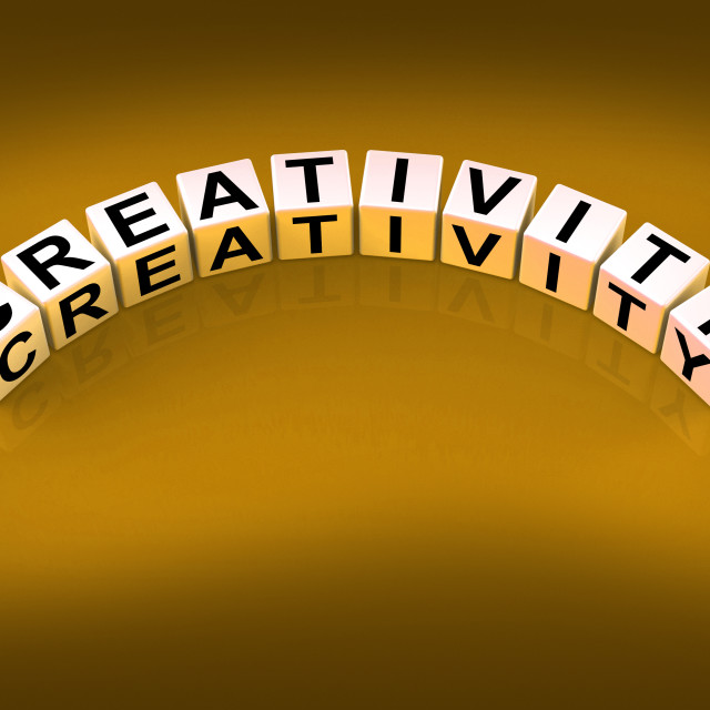 """""""Creativity Dice Mean Inventiveness Inspiration And Ideas"""" stock image"""