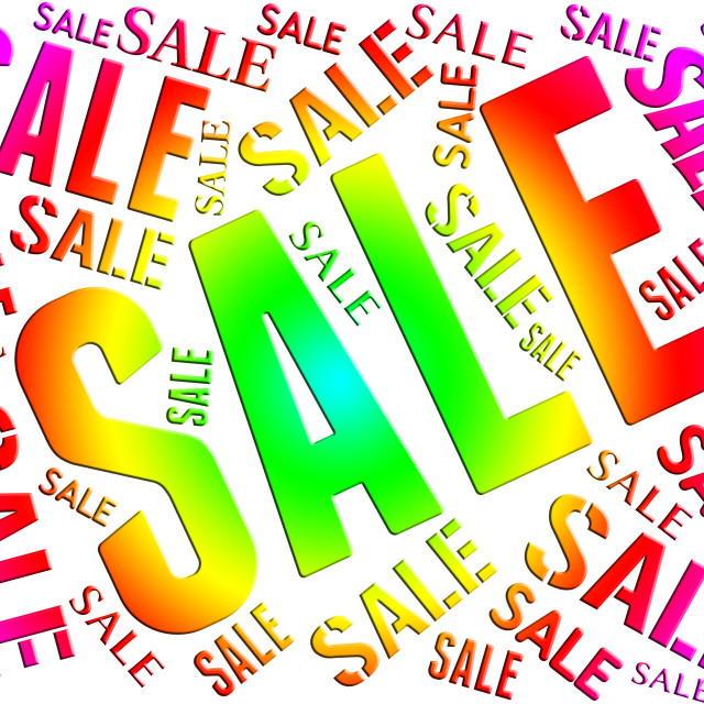 """Sale Word Indicates Save Bargain And Closeout"" stock image"