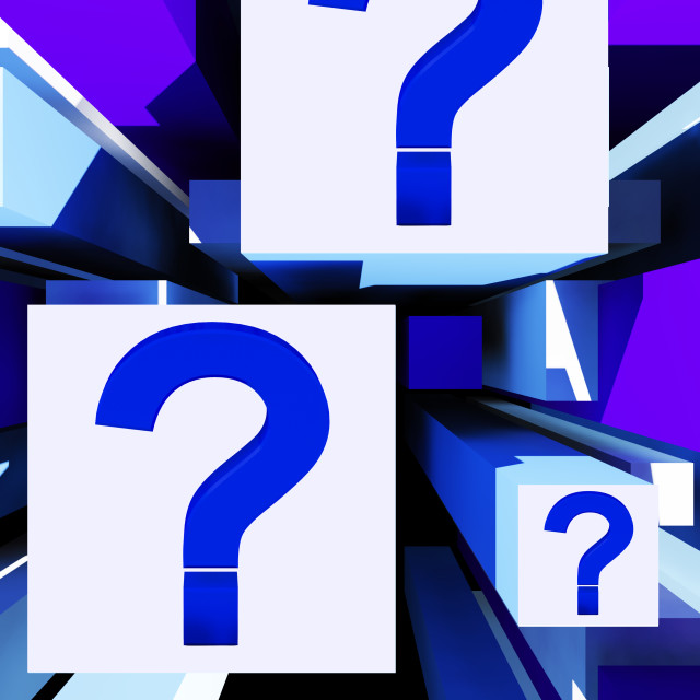 """""""Question Mark On Cubes Shows Uncertainty"""" stock image"""
