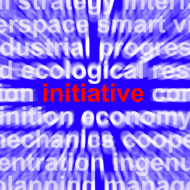 """""""Initiative Word Meaning Leadership Inventiveness And Being Proactive"""" stock image"""
