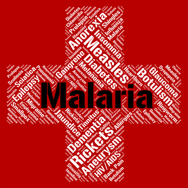 """""""Malaria Word Shows Ill Health And Disability"""" stock image"""