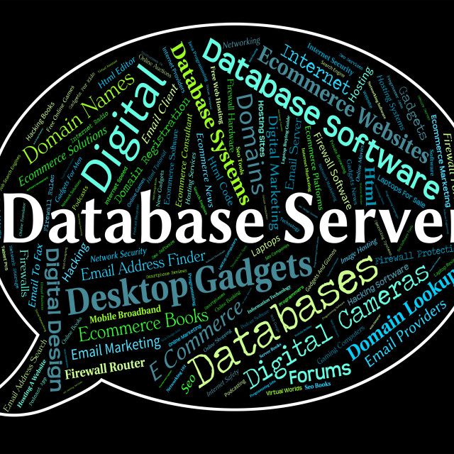 """""""Database Server Shows Word Networking And Databases"""" stock image"""