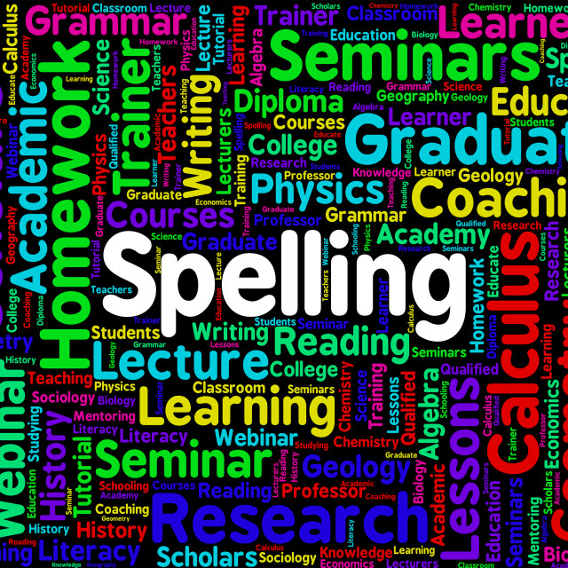 """Spelling Word Means Spellings Penmanship And Publisher"" stock image"