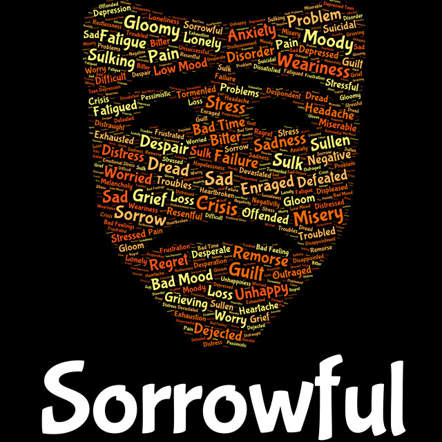 """Sorrowful Word Represents Grief Stricken And Despairing"" stock image"