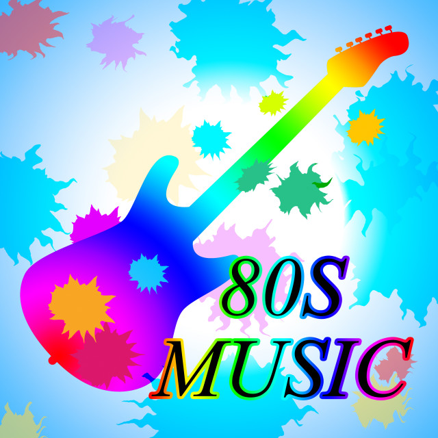 """""""Eighties Music Shows Acoustic Music And Soundtrack"""" stock image"""