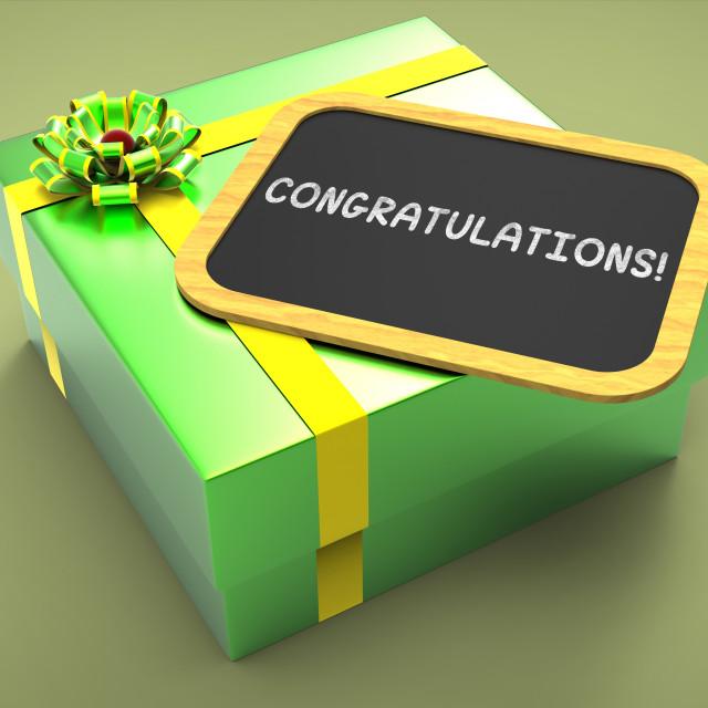 """Congratulations Present Card Shows Accomplishments And Achievements"" stock image"