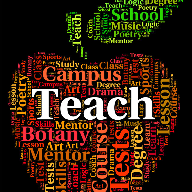 """""""Teach Word Indicates Give Lessons And Coach"""" stock image"""