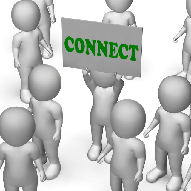 """""""Connect Board Character Means Networking And Global Communications"""" stock image"""