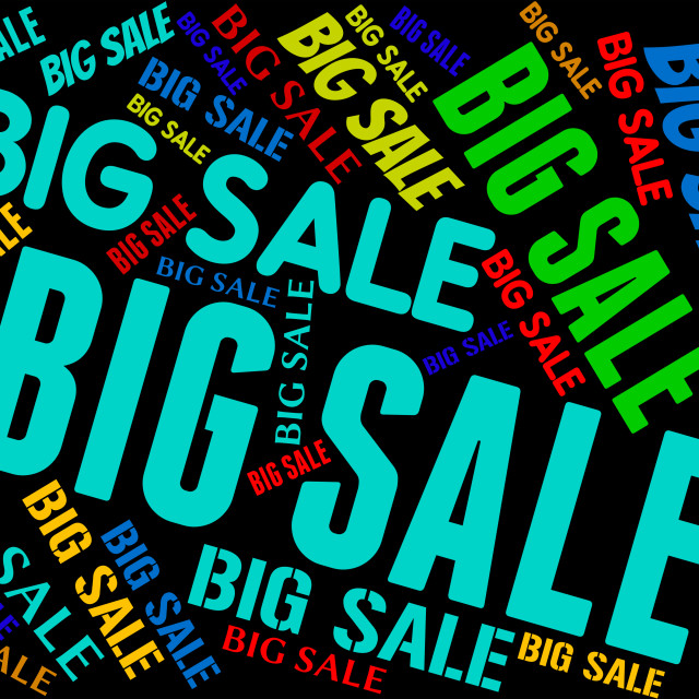 """Big Sale Indicates Promotional Bargains And Discount"" stock image"