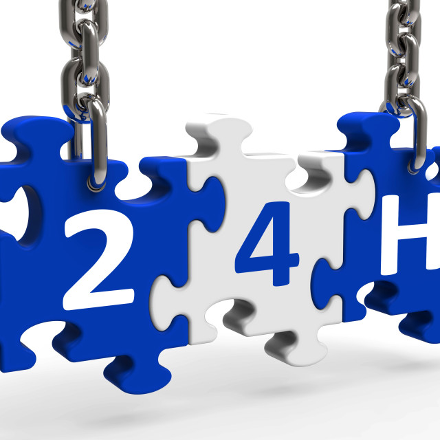 """""""24h On Puzzle Shows All Day 24hr Service"""" stock image"""