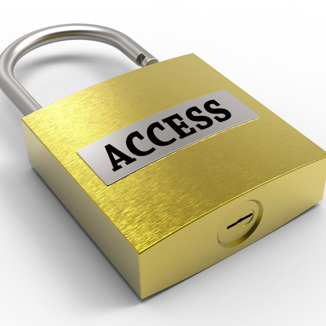 """Access Padlock Means Admittance Permission And Accessibility 3d Rendering"" stock image"