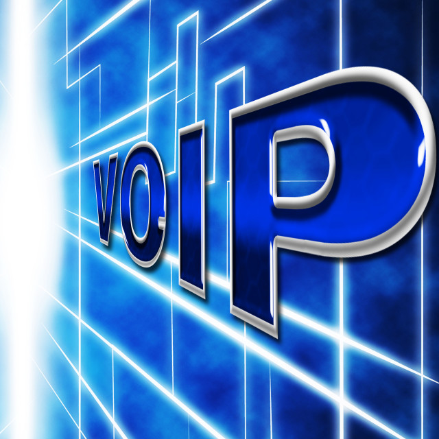 """Voip Telephony Indicates Voice Over Broadband And Protocol"" stock image"