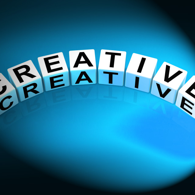 """Creative Dice Mean Innovative Inventive and Imaginative"" stock image"