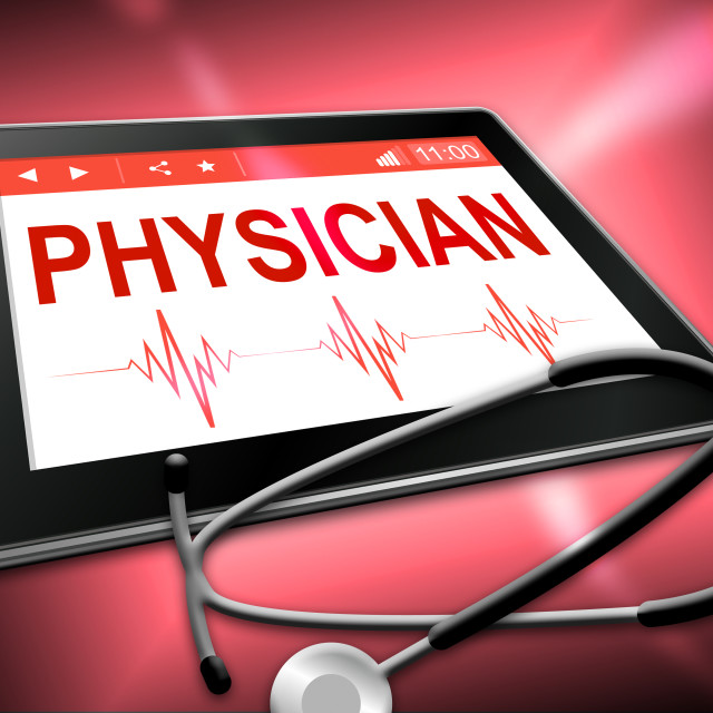 """Physician Tablet Indicates General Practitioner And Md"" stock image"